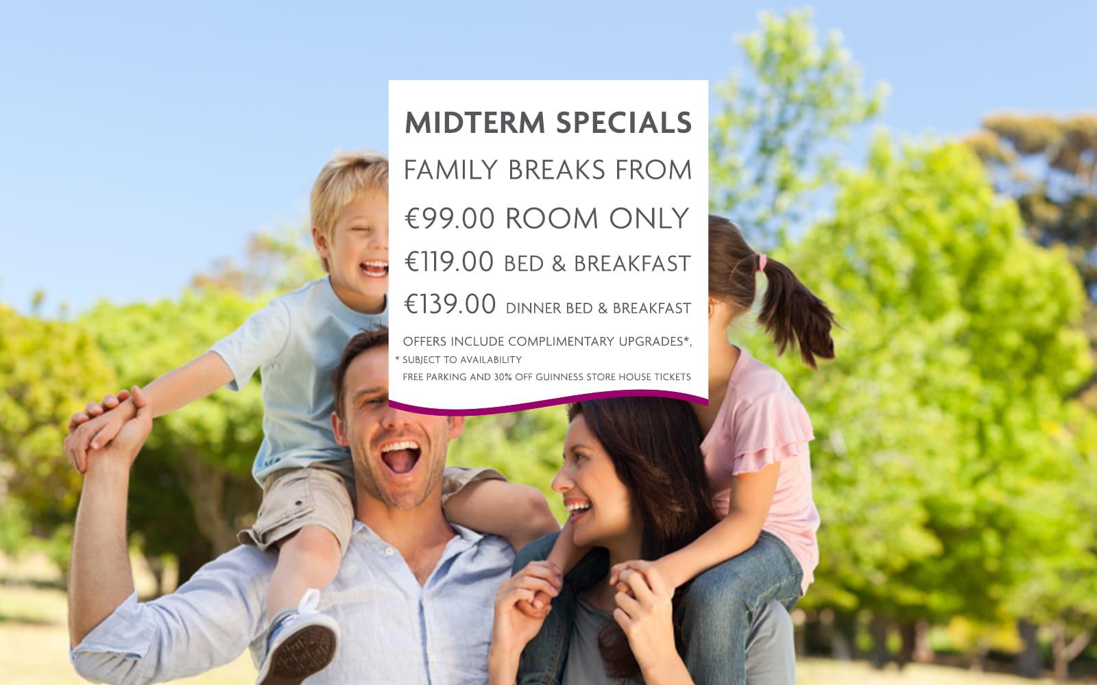 Crowne Plaza Blanchardstown midterm offer- happy family